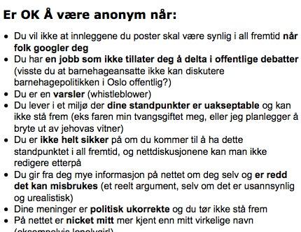 Anonym kan være bra.