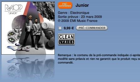 I den franske iTunes-butikken koster plata ¢9.99 i digital form.