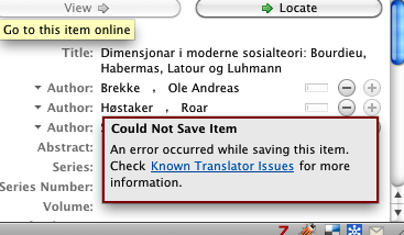 Informaworld Zotero Error