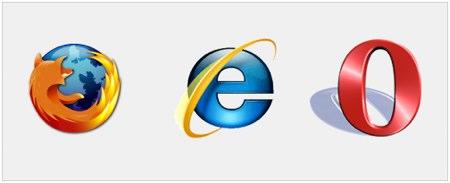 Her ser du logoen til tre kjente nettlesere, Firefox, IE8 og Opera