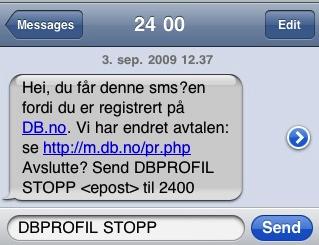 db.no sendt en sms, men uten å nevne at jeg automagisk var blitt en betalende kunde